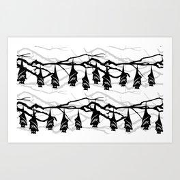 Bats hanging on tree : TM17046 Art Print