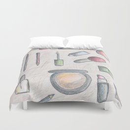 MAKE-UP - pencil and coloured pencil illustration Duvet Cover