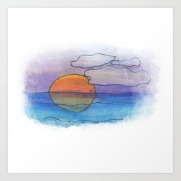 Sunset Dreaming - Watercolor Design Art Print