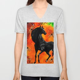 HORSE MOON AND DRAGONFLY VISIONS Unisex V-Neck