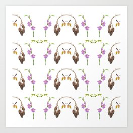 Pattern of forest fruits and flowers Art Print