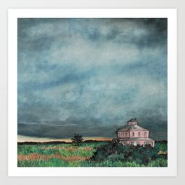 Storm over Pink House Newburyport MA Art Print