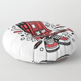 Police Box DJfor animated characters comics and pop culture lovers Floor Pillow