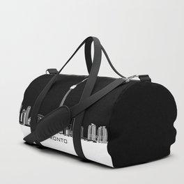 Toronto Skyline - White ground / Black Background Duffle Bag