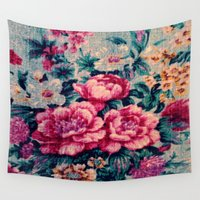 vintage floral Wall Tapestries featuring Vintage Floral  by CLE.ArT.