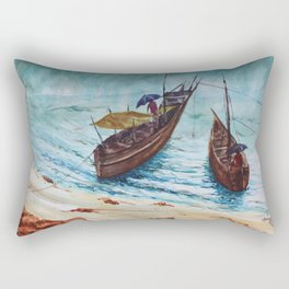 The Seaside view during monsoon season, fishermen returning back from work Rectangular Pillow