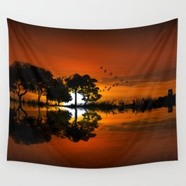 Guitarscape Sunset Wall Tapestry