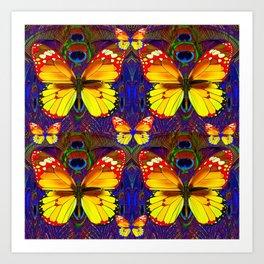 PATTERNS OF GOLDEN BUTTERFLIES ART Art Print