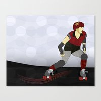 roller derby Canvas Prints featuring Roller Derby by Aquamarine Studio