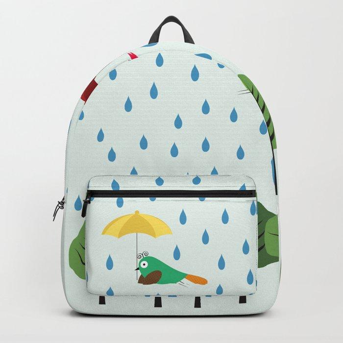 Birds in the rain. Backpack