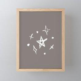 Stars on Grey Framed Mini Art Print