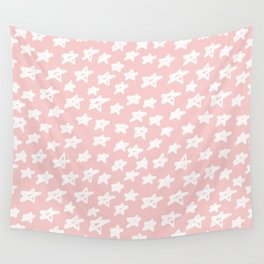 Stars on pink background Wall Tapestry