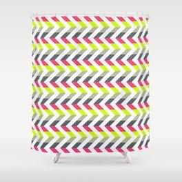 Neon Strawberry - Chevron Geometric Pattern Shower Curtain