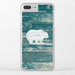 Rustic White Bear on Blue Wood Lodge Art A231b Clear iPhone Case