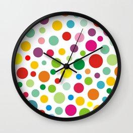 Rainbow Colorful polka dots on white Wall Clock
