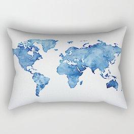 Blue World Map 03 Rectangular Pillow