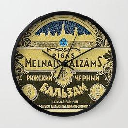 Vintage 1950 Rigas Melnais Balzams Wine Bottle Blue Label Print Wall Clock