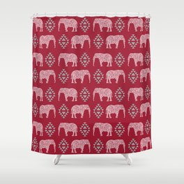 Alabama bama crimson tide pattern football varsity alumni Shower Curtain