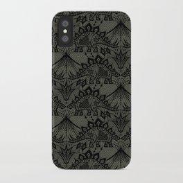 Stegosaurus Lace - Black / Grey - iPhone Case