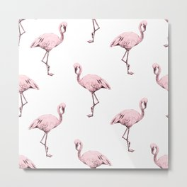 Simply Pink Flamingo in Pink Flamingo Metal Print