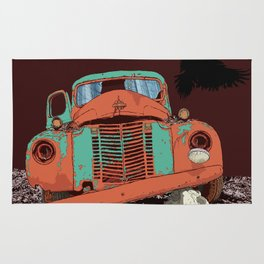 Art print: Old vintage car, the Raven and the Wolf skull Rug