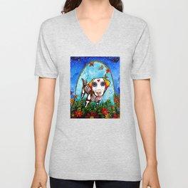 Labrador Retriever Acrylic Portrait by Robin Arthur aka RobiniArt (Thunder) Unisex V-Neck