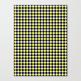 Electric Yellow and Navy Blue Diamonds Canvas Print
