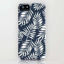 Tropical Palm Leaves - Navy Blue iPhone Case