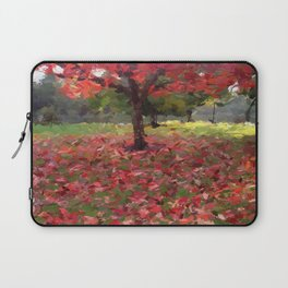 Oil crayon illustration of a red maple tree in the Boston Public Garden Laptop Sleeve