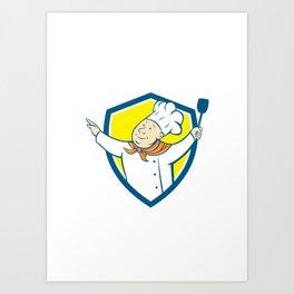 Chef Cook Arm Out Spatula Shield Cartoon Art Print