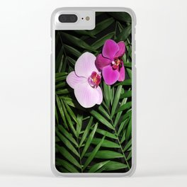 Orchids with palm leaves Clear iPhone Case