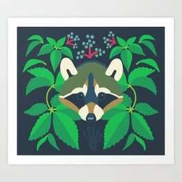Raccoon + Virginia Creeper Art Print