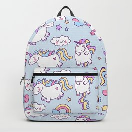 Seamless unicorn pattern with clouds, hearts, and rainbow on blue background Backpack