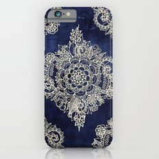 Cream Floral Moroccan Pattern on Deep Indigo Ink Slim Case iPhone 6