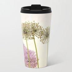 Tall Green Alum Plants and Purple Pink Star Flowers Metal Travel Mug