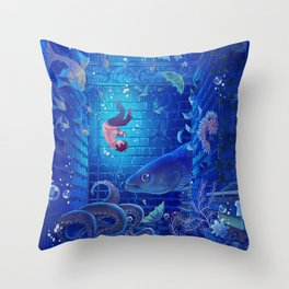 A Sea of Books Throw Pillow