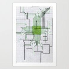 Circuit board green Art Print