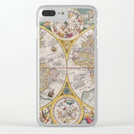 Old Map of the World from 1594 Clear iPhone Case