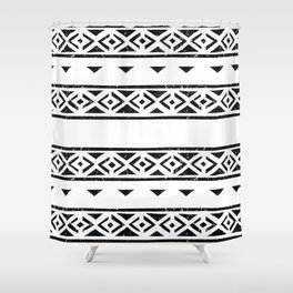 Black And White Pattern Wallpaper Print Shower Curtain