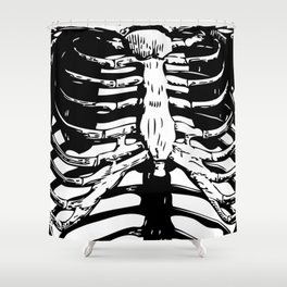 Skeleton Ribs | Black and White Shower Curtain