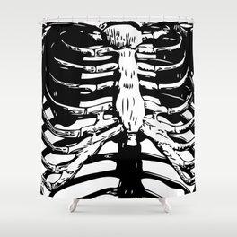 Skeleton Ribs | Skeletons | Rib Cage | Human Anatomy | Black and White | Shower Curtain