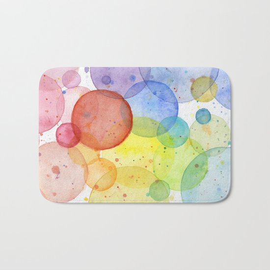 Watercolor Abstract Rainbow Circles and Splatters Bath Mat