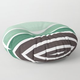 Deep Green Minimalist Watercolor Mid Century Staggered Stripes Rothko Color Block Geometric Art Floor Pillow