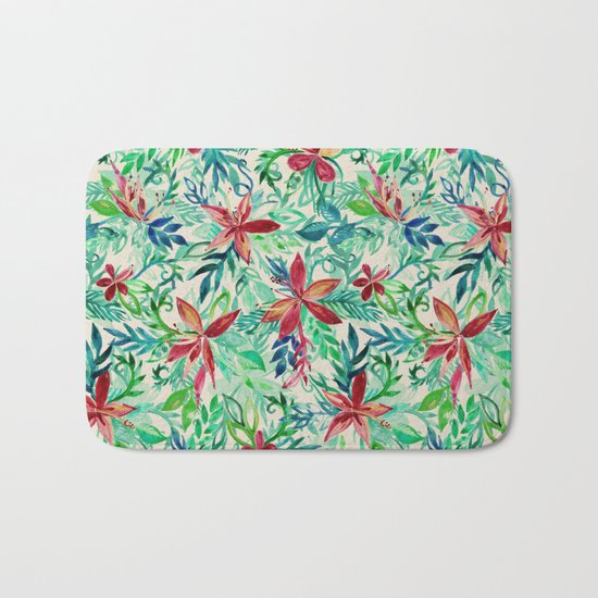 Vintage Tropical Floral - a watercolor pattern Bath Mat