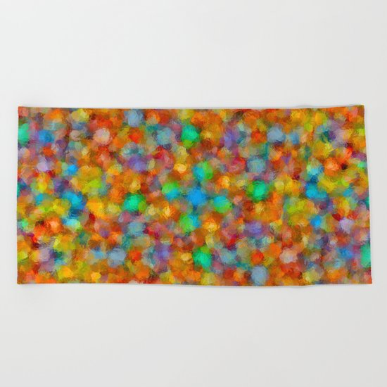 Abstract Watercolour Bubbly Pattern Beach Towel