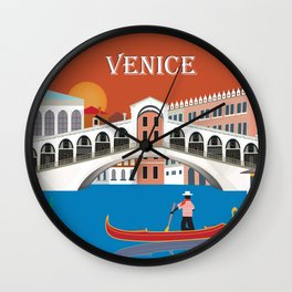 Venice, Italy - Skyline Illustration by Loose Petals Wall Clock