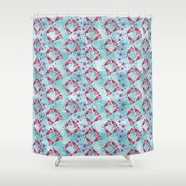 Blue and Pink Flying Tehuana Pattern Shower Curtain