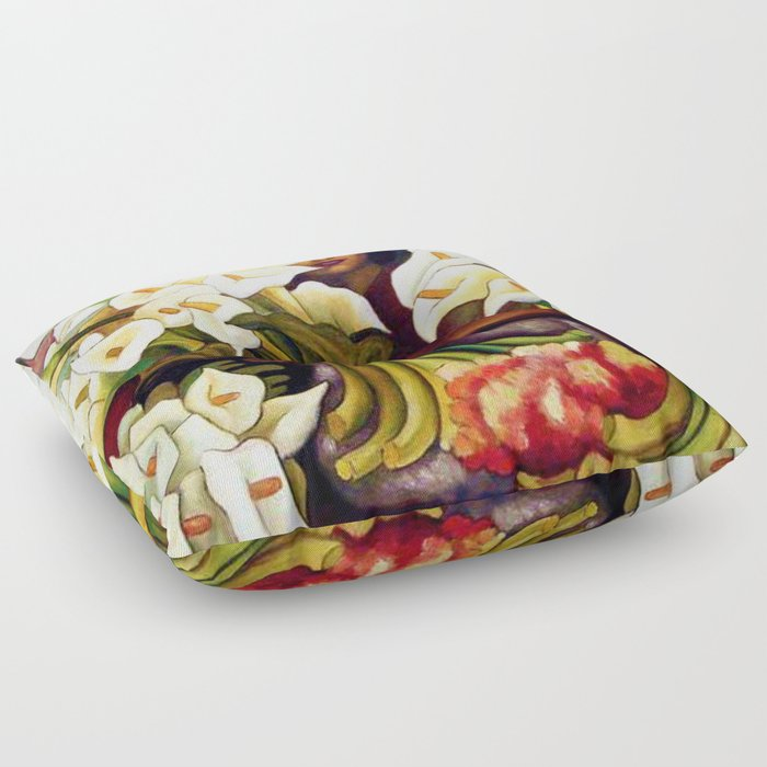 1938 Classical Masterpiece 'Alcatraces Flower Seller' by Diego Rivera Floor Pillow