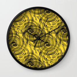 Yellow , black , abstraction , spiral Wall Clock