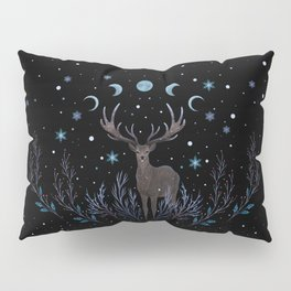 Deer in Winter Night Forest Pillow Sham